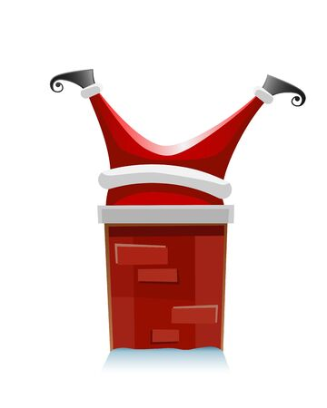 Santa Claus stuck in the chimney - funny vector illustration isolated on white background Ilustrace
