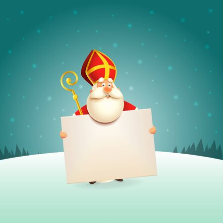 Saint Nicholas with board - winter scene background