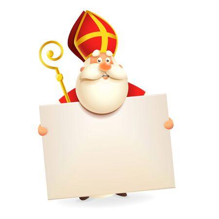 Sinterklaas met bord - geïsoleerd op witte achtergrond