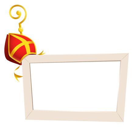 Social-Media-Fotorahmen mit St. Nikolaus oder Sinterklaas-Thema goldener Kreuzstab und Mitra - isoliert auf transparentem Hintergrund