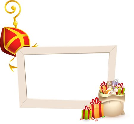 Saint Nicholas or Sinterklaas theme frame with golden crosier stick mitre and gifts - social media frame isolated on transparent background