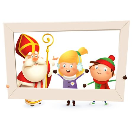 Saint Nicholas or Sinterklaas and children girl and boy with photo frame - isolated on white background Çizim