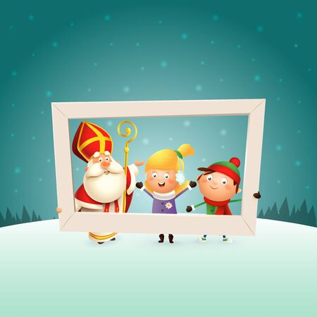 Saint Nicholas and children girl and boy with photo frame - winter scene background