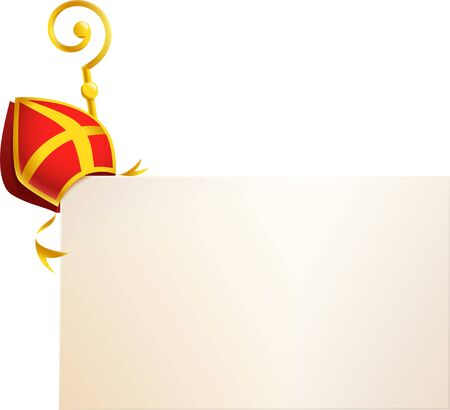 Saint Nicholas attributes miter and golden crosier on board - vector template isolated on transparent background