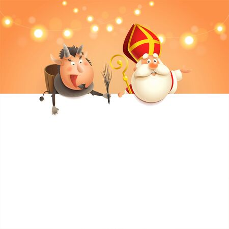 Saint Nicholas and Krampus on board - happy cute characters celebrate holiday - poster template on orange background Çizim