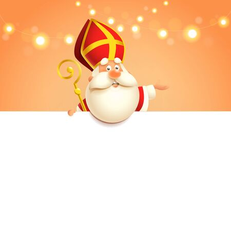 Saint Nicholas on board - happy cute character - poster template Çizim