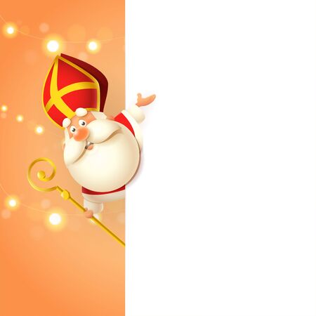 Saint Nicholas Sinterklaas on left side of board - happy cute character celebrate holiday - poster template Çizim