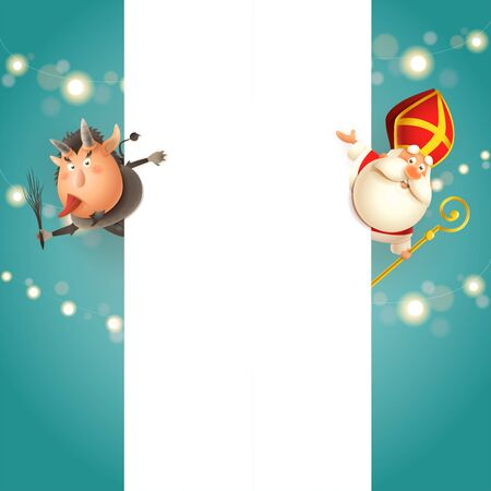 Krampus on left side and Saint Nicholas on right side of board - happy cute characters celebrate holidays - vector template