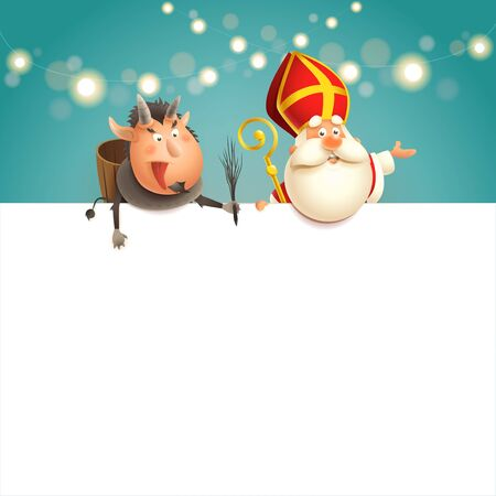 Saint Nicholas and Krampus on board - happy cute characters celebrate holidays - vector illustration Çizim