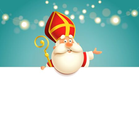 Saint Nicholas on board - happy cute character vector illustration