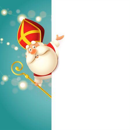 Cute Saint Nicholas - Sinterklaas on left side of board - happy cute character celebrate holidays - vector illustration