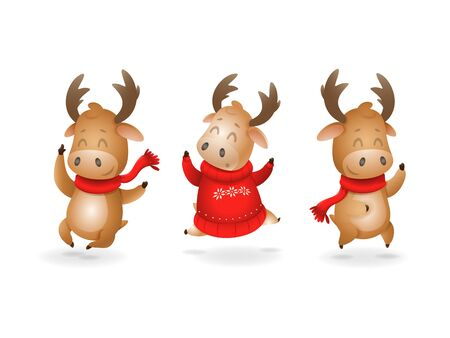 Cute Moose or Reindeer celebrate winter holidays happy expression - they jumping up - vector illustration isolated on transparent background