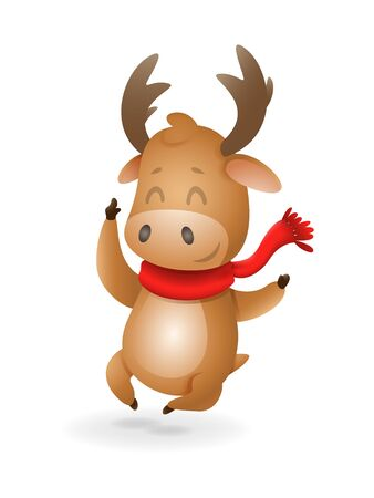 Cute Moose or Reindeer celebrate winter holidays happy expression - vector illustration isolated on transparent background