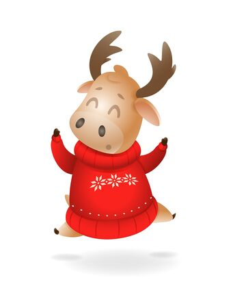 Cute Moose or Reindeer wearing ugly sweater celebrate winter holidays - happy expression - vector illustration isolated on transparent background