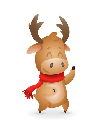 Cute Moose or Reindeer celebrate winter holidays - vector illustration isolated on transparent background
