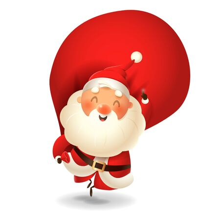 Santa Claus with sack jumping - happy expression point finger up - vector illustration isolated on transparent background Иллюстрация