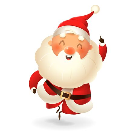 Santa Claus - happy expression - point finger up - vector illustration isolated on transparent background