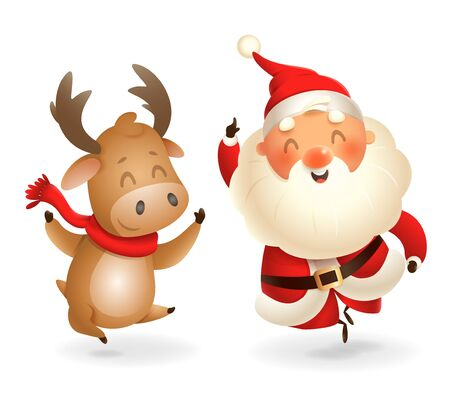 Santa Claus and Moose - happy expression - point finger up - vector illustration isolated on transparent background Ilustrace