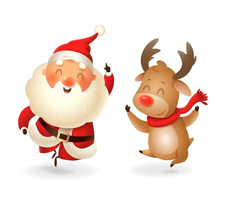 Santa Claus and Reindeer - happy expression - point finger up - vector illustration isolated on transparent background
