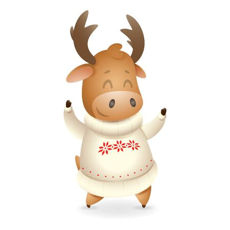 Cute Moose wearing white ugly sweater and celebrate winter holidays - vector illustration isolated on transparent background