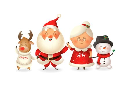 Santa with family celebrate holidays - Reinder, Snowman and Mrs Claus - vector illustration isolated on transparent background Illustration