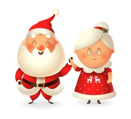 Santa Claus and his wife Mrs Claus celebrate holidays - vector illustration isolated on transparent background