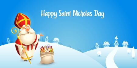 Happy Saint Nicholas day - winter scene greeting card or banner - blue background