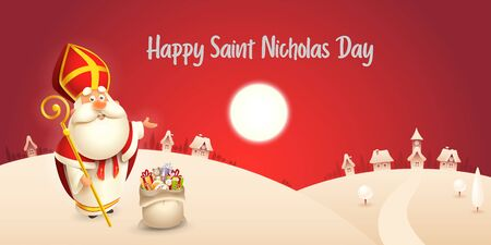 Happy Saint Nicholas day - winter scene greeting card or banner - red night background