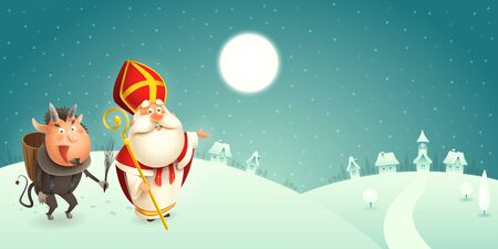 Saint Nicholas and Krampus are coming to town - winter scene - turquoise background