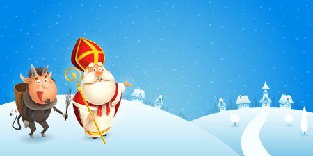 San Nicola e Krampus stanno arrivando in città - scena invernale - sfondo blu