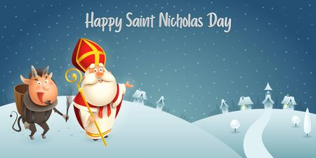 Saint Nicholas and Krampus are coming to town - winter scene - dark night background