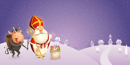 Saint Nicholas and Krampus are coming to town - winter scene - purple night background