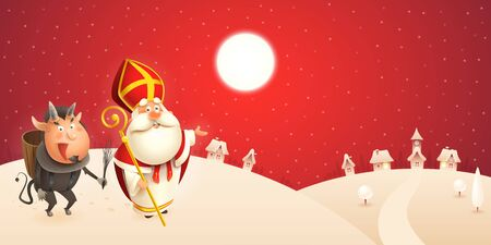 Saint Nicholas and Krampus are coming to town - winter scene - red night background
