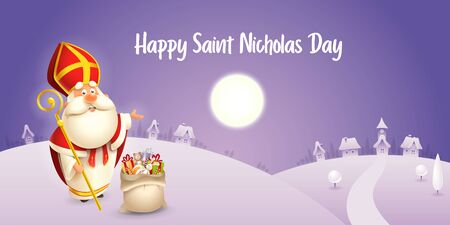 Happy Saint Nicholas day - winter scene greeting card or banner - purple night background