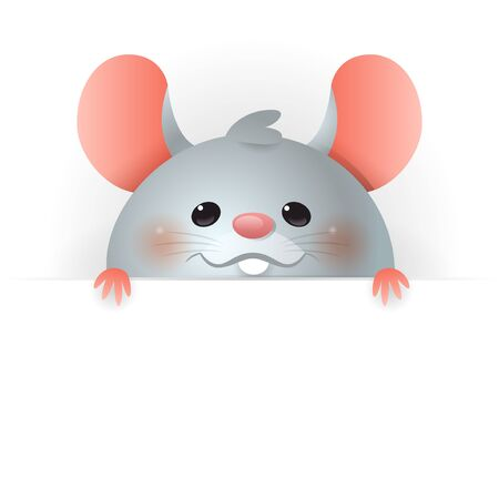 Cute Rat on board - Chinese Zodiac Sign Year of Rat - vector illustration isolated on transparent background