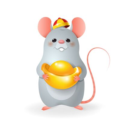 Cute little Rat with Chinese gold celebrate Chinese New Year - vector illustration isolated on transparent background