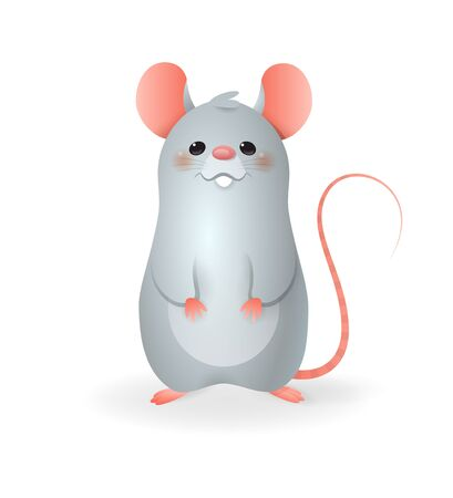 Cute little Rat - vector illustration cartoon style isolated on transparent background Иллюстрация