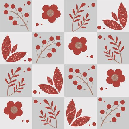 Seamless retro winter pattern with branches berries flowers and leaves - vector illustration Иллюстрация