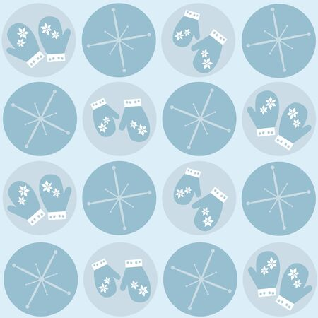 Seamless retro winter blue pattern with gloves and shining stars - vector illustration