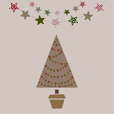 treeWinter card with Christmas tree and stars - retro style vector illustration