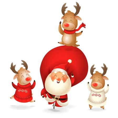 Santa Claus and Reindeer celebrate holidays - happy expressions - Merry Christmas and happy New year - isolated on transparent background Иллюстрация