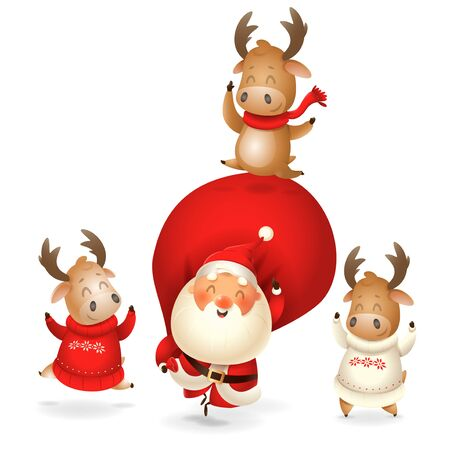 Santa Claus and Moose celebrate holidays - happy expressions - Merry Christmas and happy New year - isolated on transparent background