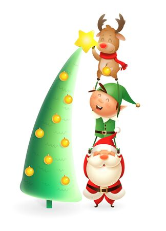 Santa Claus Elf and Reinder put the star on top of Christmas tree - cute and happy characters - isolated on white background Иллюстрация