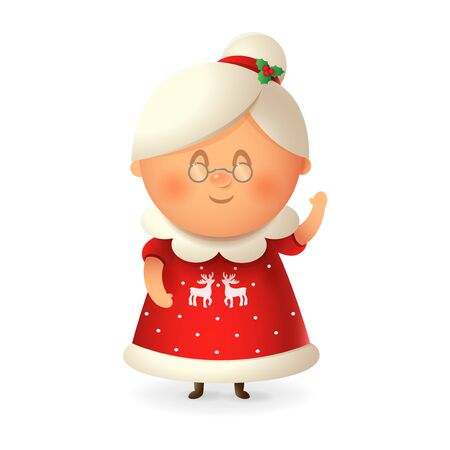 Mrs Claus - wife of Santa Claus - vector illustration isolated on transparent background