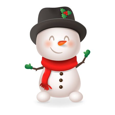 Cute Snowman - smile and wave - vector illustration isolated on transparent background