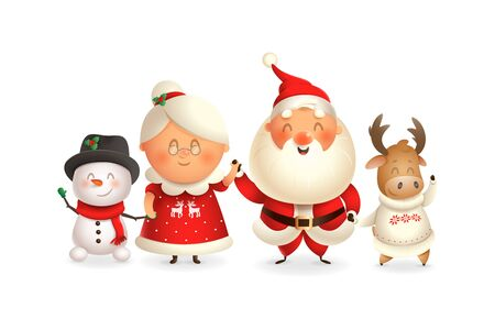 Santa Claus with family celebrate holidays - Moose, Snowman and Mrs Claus - vector illustration isolated on transparent background