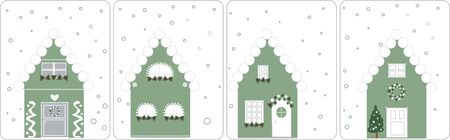 Winter holiday cards with cute houses - vector illustration