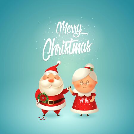 Merry Christmas - Santa with flowers for his wife Mrs Claus - couple in love celebrate winter holidays - vector illustration