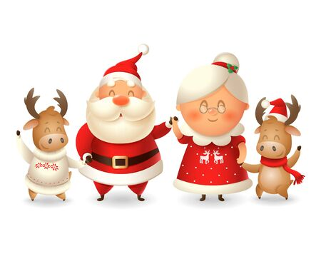 Santa Claus his wife Mrs Claus and two Moose celebrate winter holidays - vector illustration isolated on transparent background