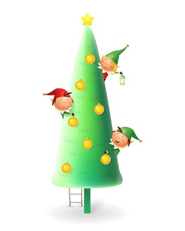Cute Christmas Elves decorating Christmas tree - vector illustration isolated on white background